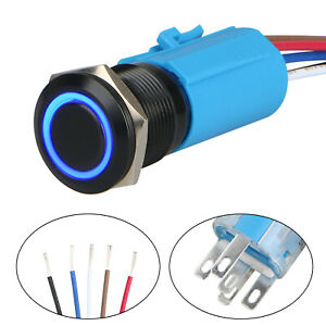 Blue Led 19mm Momentary On off Push Button Switch Wire Socket Plug Waterproof