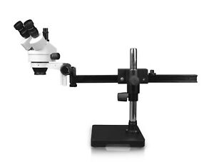 Parco 7x 45xsimul focal Trinocular Zoom Stereo Microscope gliding Arm Boom Stand