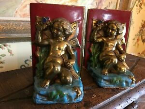 Heavy Metal Sculptured Bookends Painted Pair Angels Butterfly Frog Books