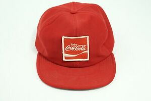 Vintage Red Enjoy Coca Cola Patch Employee Snapback Trucker Hat Made in USA