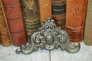 Antique French Silver Mixed Metal Cross Acanthus Scrolls Medallion Pediment Trim
