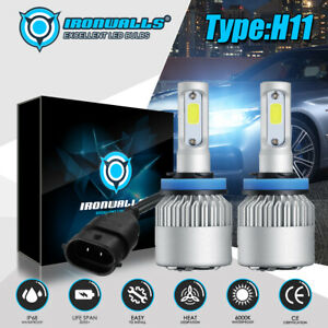Ironwalls H11 Led Headlight Super Bright Bulbs Kit 300000lm Hi lo Beam 6000k New