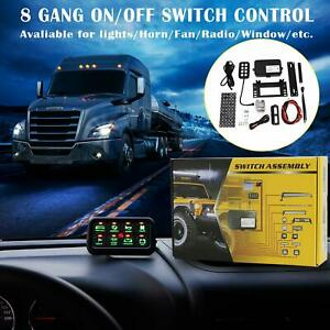 Switch Control System 8 Gang Green Led Button Panel Universal Fit Car Truck Boat