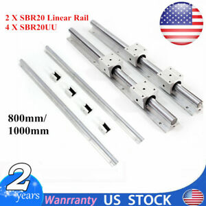 2 Set Sbr20 800 1000mm 20mm Fully Supported Linear Rail Shaft Rod With 4 Sbr20uu
