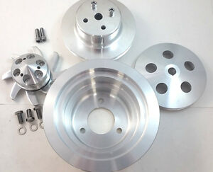 Bbc Big Block Chevy 2 3 Groove Aluminum Long Pump Pulley Kit 396 427 454 V8