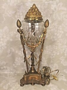 Antique French Gilt Bronze And Crystal Urn Lamp Works Unmarked