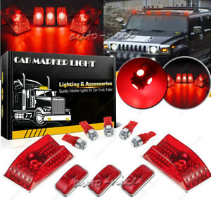 5x Cab Clearance Roof Marker Lights Red Lens W Red Led Bulb For 03 09 Hummer H2