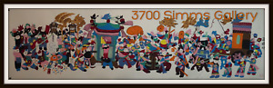 Scroll Chinese Small Village Wedding Procession Folk Art Hand Painted Signed Vtg