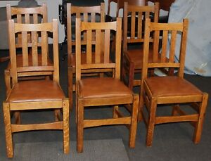 Vintage Stickley Brothers Set Of 6 Chairs Mission Oak 1900 S