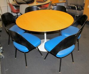 Vintage Knoll Studio Eero Saarinen Tulip Table 47 Oak Mid Century