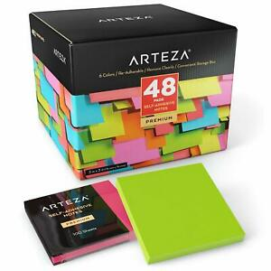 Arteza 3x3 Inches Sticky Notes 48 Pads 100 Sheets Per Pad Bulk Pack Assorted