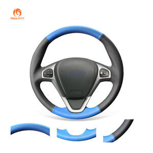 Black Blue Pu Leather Steering Wheel Cover For Ford Fiesta 2008 2013 Ecosport