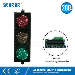 Automatic Cycle Running Controller Led Traffic Signal Light 200mm Red Green Ambe