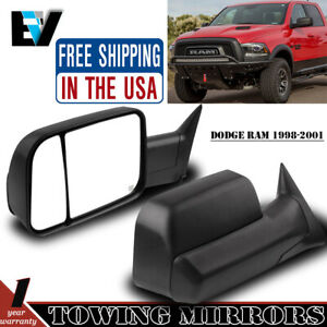 Tow Mirrors Power Heated For 1998 2001 Dodge Ram 1500 2500 3500lh