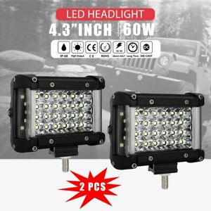 Pair 4 5inch Cree Led Spot Light Pods Driving 4wd For Car Truck Atv Suv Ute 90w