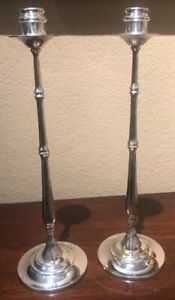 Pair 14 Ralph Lauren Abagail Bamboo Silver Plated Candle Holders In Exc Cond
