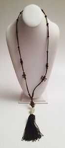 Fine Antique Chinese Jade Pendant Necklace Qing Dynasty 34 Silk Cord 1900s Deco