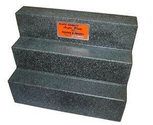 Brown Sharpe Black Granite Angle Plate Surface Step Plate 12 X 9 X 6