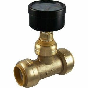 Sharkbite 24438 Brass Push to connect Tee With Water Pressure Gauge 3 4