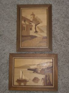 Lot Of 2 Inlaid Wood Marquetry Hanging Pictures Italy Euc