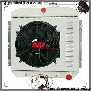 3 Row Aluminum Radiator Shroud Fan Thermostat For 55 57 Chevy Bel Air L6 Aap