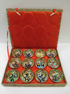 Vintage Set 12 Hand Painted Samurai Mask Tea Cups Sauce Bowls In Box