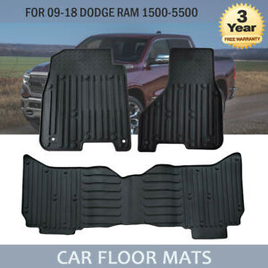 For 09 18 Dodge Ram 1500 2500 3500 Crew Cab Rubber Slush Carpet Floor Mats Oem