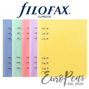Filofax clipbook Leather look A5 Refillable Notebook Choose Pastel Colour