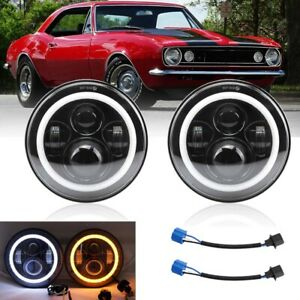 Led Headlight For Chevrolet Camaro 1967 1981 7 Inch Round Projector Drl Lights