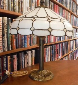 Antique Leaded Bent Stained Glass Lamp Miller Bradley Hubbard Handel Style
