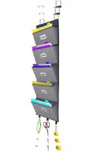 Over The Door Hanging File Organizer Wall Mounted Office Supplies Grey