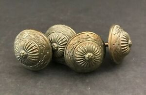 Lot Of 4 Vintage Brass Round Knobs Screw Back Bamboo Hat Design