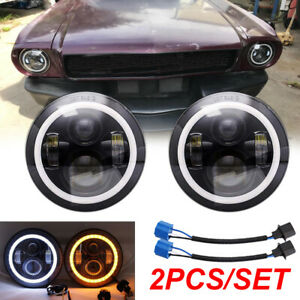 2pcs 7 Round 200w Led Headlights Halo Hi Lo Beam Drl For Ford Mustang 1965 1978