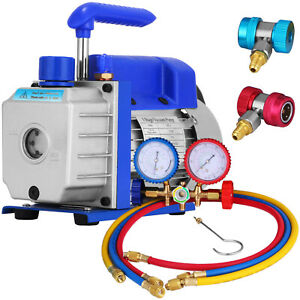 3 Cfm Air Vacuum Pump 1 4hp Manifold Gauge Hvac Refrigeration Kit A c Ac