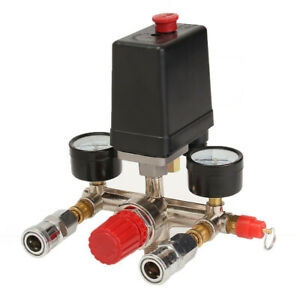 Air Compressor Pressure Control Switch Valve Manifold Regulator With Gauges Reli