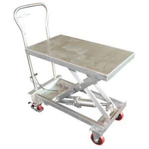 Vestil Sssc 400 Stainless Steel Hydraulic Scissor Cart Lift Table 400 Lb Cap