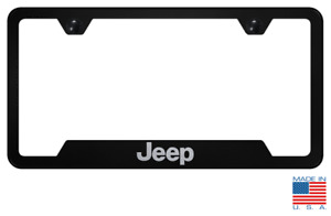 Black License Plate Frame For Jeep W Laser Etched Emblem Logo