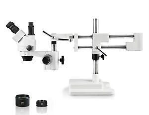Parco 3 5x 90x Simul focal Trinocular Zoom Stereo Microscope dual Arm Boom Stand