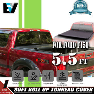 5 5ft Vinyl Truck Us Bed Soft Roll Up Tonneau Cover Fits 2014 15 2019 Ford F150