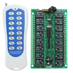 Dc 24v 16ch Channel Wireless Rf Remote Control Switch With Transmitter For Smart