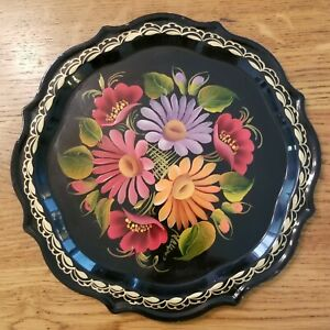 Vintage Hand Painted Signed Art Floral Russian Tole Tray 7 In