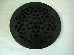 Antique 8 Fancy Round Cast Iron Grate Floor Register Vent Louvered Ready To Go
