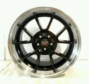 1 Oe Wheels 94 04 Ford Mustang Fr500 Style 18x10 Black Rim W Machined Lip
