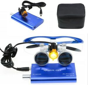 Dental Medical 3 5x Binocular Loupes Magnifier 3w Led Headlight W Filter Blue