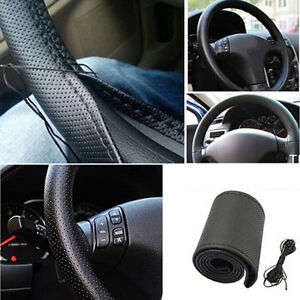 New Car Truck Leather Steering Wheel Cover With Needles And Thread Black Diy Vvv