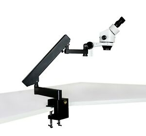 Parco 7x 45x Binocular Zoom Stereo Microscope With Articulating Arm Clamp Stand
