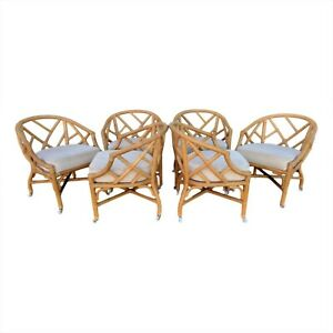 Vtg Set 6 Six Matching Rattan Chinese Chippendale Barrel Back Fretwork Chairs
