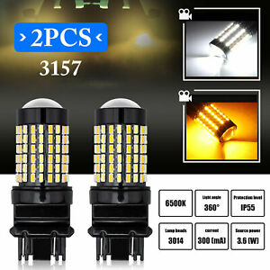 2pcs Dual Colors 3157 4157na Led Switchback White Yellow Turn Signal Light Bulbs