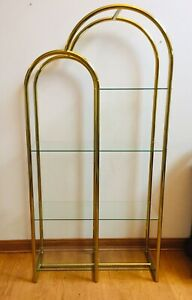 Vintage Milo Baughman Style Brass Glass Double Arched Etagere Shelving Unit