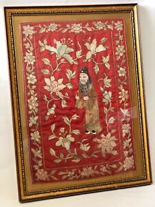 Antique Chinese Red Silk Hand Embroidery Hanging Wall Tapestry Framed 29 H